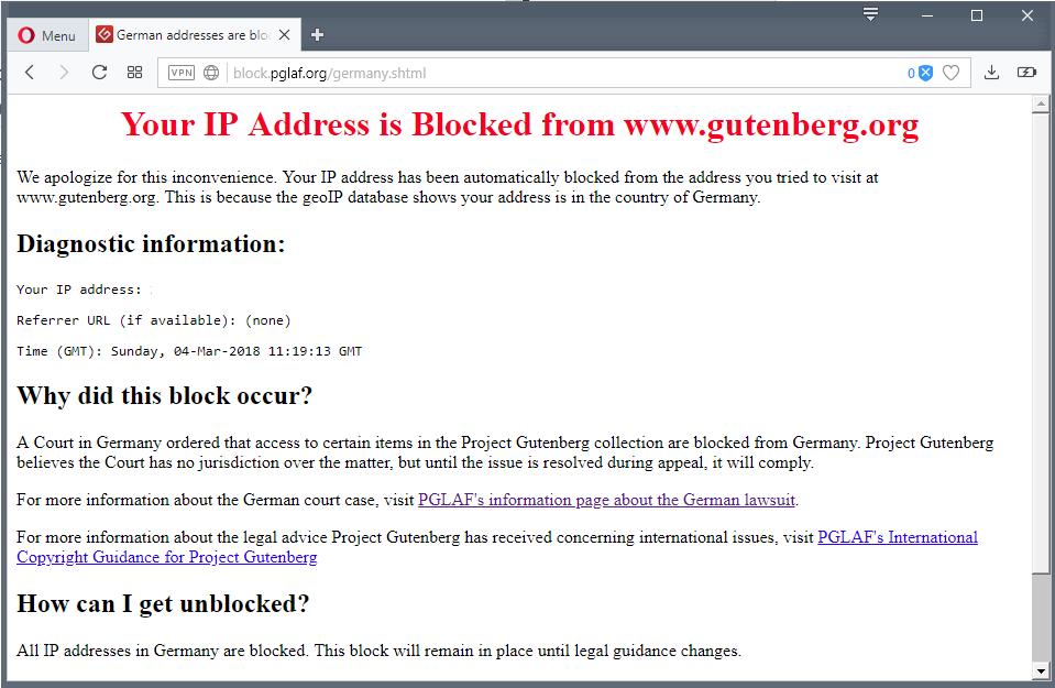 Projekt Gutenberg blokuje dostęp niemieckim Internautom