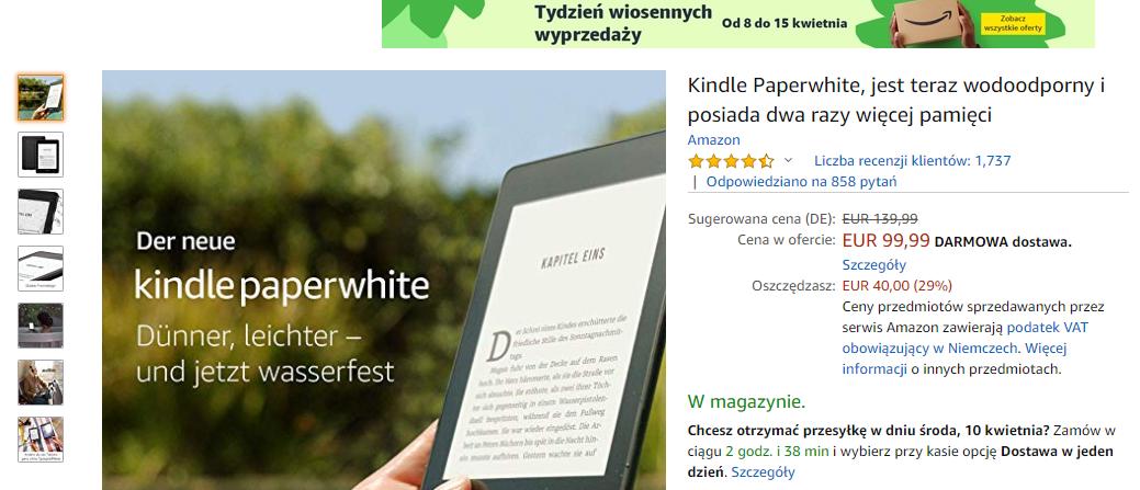 Kindle Paperwhite 4 o 40€ taniej w wiosennej promocji